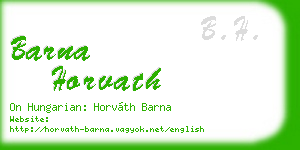 barna horvath business card